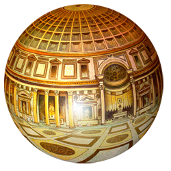 This shows the total Pantheon in Rome from the center of the interior. It is the temple to all Gods of Ancient Rome. You see the up, down and all around scene from within the Pantheon. The dome is 142 foot diameter as is the height to the oculus or the hole in the center of the dome. This was painted by Termes in 1998.
